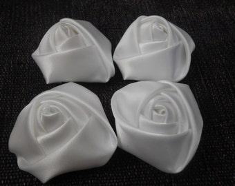 "White Mini Rolled Rose, 1.5"" Satin Rosette, Wholesale Flower, Headband Rose Buds, 4cm Floral Embellishment,"