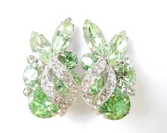 Vintage Rhinestone Earrings - 1950s Fashion - Mad Men - Vintage Wedding Jewelry - Bridesmaid Gifts - Rhinestone Jewelry For Summer -