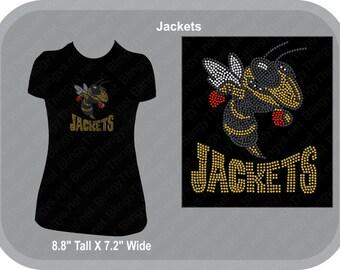 Yellow Jackets - School Spirit Wear - Team Spirit  Rhinestone T Shirt