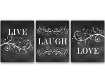 Home Decor Wall Art, Live Laugh Love Art, Chalkboard Wall Art, Bathroom Wall Decor, Bedroom Wall Art, Chalkboard Art Prints - HOME23