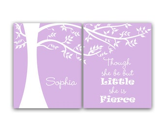 Nursery Wall Art, Though She Be But Little She Is Fierce, Personalized Kids Wall Art, Kids Name Art, Girls Room Decor - KIDS27