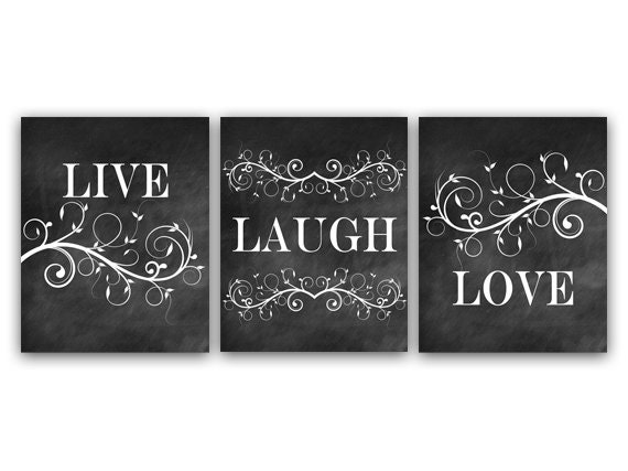 Home decor wall art live laugh love art chalkboard wall art for Live laugh love wall art