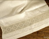 """Vintage damask linen towel with crochet lace insertion, 25"""" x 15 1/2"""""""