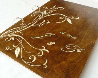Personalized Rustic Guest Book, Wedding Guest Book, Wood Wedding Album