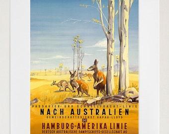 Australia Art Print Kangaroo Travel Poster (TR99)