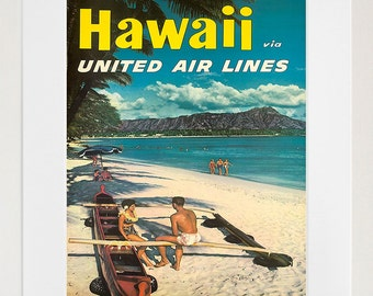 Travel Poster Hawaii Art Print Retro (TR91)