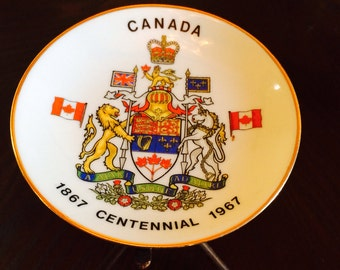 Canadian Centennial Plate, Coat of Arms, Canada Souvenir Plate, 1867-1967 Commemorative Small Plate