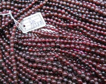 4mm garnet round beads, 15.5 inch