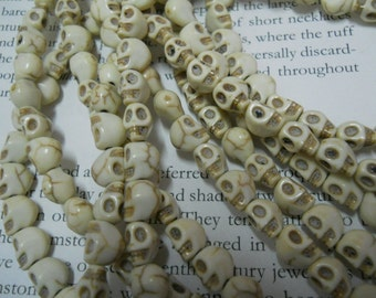 50pcs, 8mm white turquois skull beads,  Howlite Beads, Halloween, Skeleton Beads.