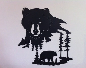 Metal Bear Scene Wall Decor  Bear Looking Upon Bear Scene Metal Art