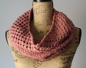 Pink Knitted Cotton Cowl, Chunky Neck Warmer, Pink Loop Scarf, Knitted Cowl, Knitted Cotton Scarf, Knitted Neck Warmer, Pink Knitted Scarf