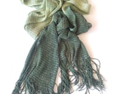 Vintage lady's Scarf / Light and Dark Green Scarf / Women Beauty Scawl