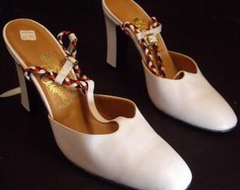 Vintage Rosina Ferragamo Schiavone White Leather Strappy Heels 7 M New W/ Box