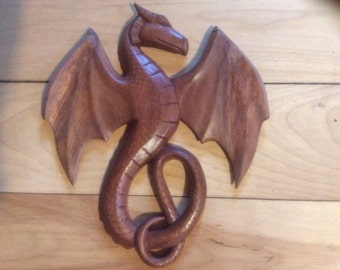 Celtic wood carved dragon