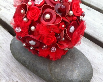 Red Leather Button Bouquet
