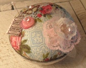 Cottage Chic Pin Cushion, Shabby and Chic, Vintage Glass, Floral Pin Cushion, SCOFG