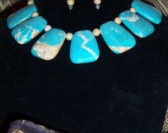 TURQUOISE & JASPER Necklace / Earring Set