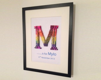 wax crayon personalised framed alphabet letter wall art