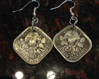 Bahamas 15 cents coin earrings- beautiful
