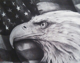 Untitled Bald Eagle with American Flag (limited edition)
