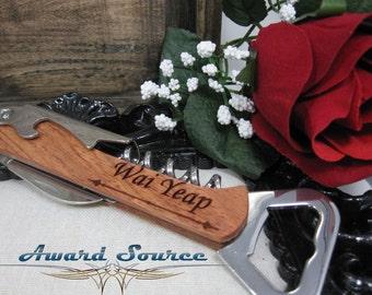 Personalized Wine Bottle Opener, Engraved Corkscrew, Engraved Bottle Opener, Custom Corkscrew: Groomsmen, Bridesmaid, Stocking Stuffer