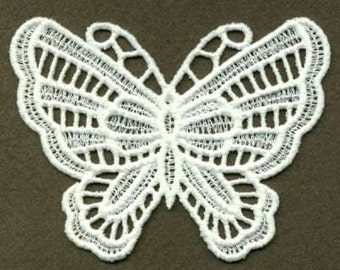 FSL Butterfly Machine Embroidery Design Free Standing Lace White Instant Download 4x4 hoop