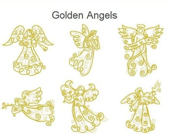Golden Angels Christmas Quilt Holiday Redwork Machine Embroidery Designs Instant Download 4x4 5x5 6x6 hoop 10 designs APE1789