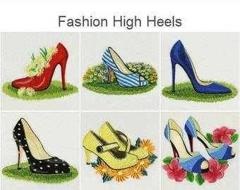 Fashion High Heels Shoe Girl Clothing Machine Embroidery Designs Instant Download 4x4 5x5 hoop 10 designs APE1310