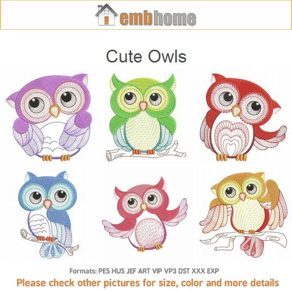 Cute Owls Bird Hoot Machine Embroidery Designs Pack Instant