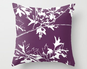 Autumn Leaves and Branches Throw Pillow Cover - Fall Decorative Pillow - Home Decor - Purple Eggplant Violet - By Aldari Home
