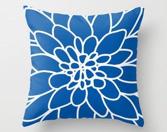 Dahlia Flower pillow with insert Cover - Modern Home Decor - By Aldari Home - Royal Cobalt Sapphire Blue and White Flower pillow with insert