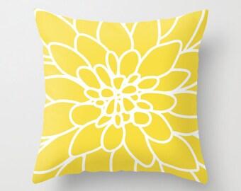 Dahlia Flower Pillow  - Modern Home Decor - By Aldari Home - Yellow and White Flower Pillow