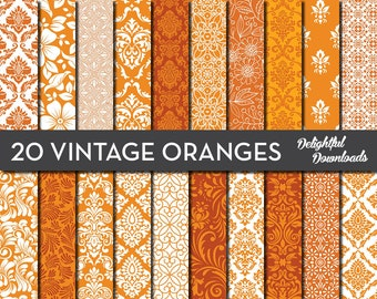 "Orange Floral Digital Paper ""20 VINTAGE ORANGES"" with 20 orange floral damask digital papers for scrapbooking, cards, prints"