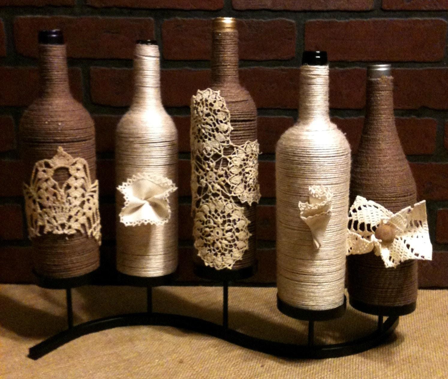 Декор бутылки из шпагата своими руками