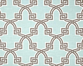Designer Aqua Home Decor Fabric by the Yard, Contemporary Drapery or Upholstery Fabric, Yardage Aqua Blue & Brown Fabric by the Yard B114