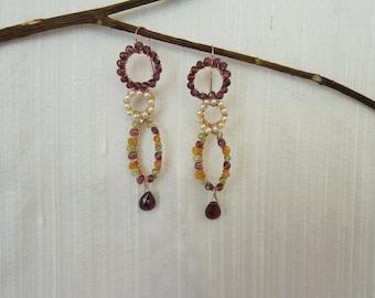 Pink Garnet, Cornelian, Peridot and White Pearl 14K Rose Gold Filed Handmade Gem Wrapped Earrings