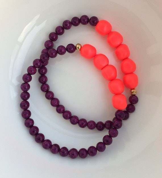 purple and fluorescent orange bracelet set by archiveofadornment. Black Bedroom Furniture Sets. Home Design Ideas