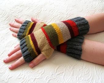 Mans 4th Doctor Who Inspired Fingerless Gloves