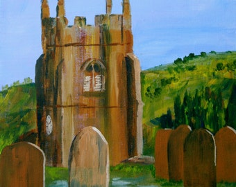 English Church, Original Acrylic Painting, Graveyard, Matlock Derbyshire, Impressionist Landscape, Canvas Board, Ready to Frame, 10 x 12 Ins