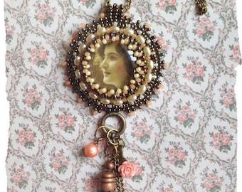 Bead embroidered Vintage lady pendant