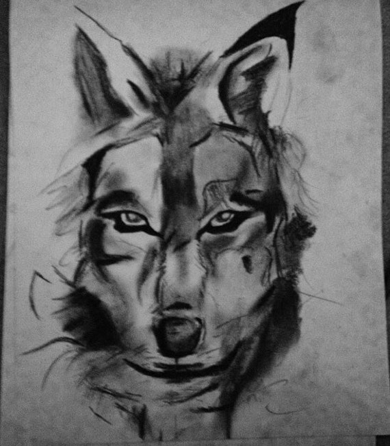 Items similar to Charcoal Wolf Drawing on Etsy