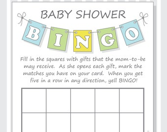 DIY Pennant Baby Shower Bingo Printable Cards for a Baby Boy