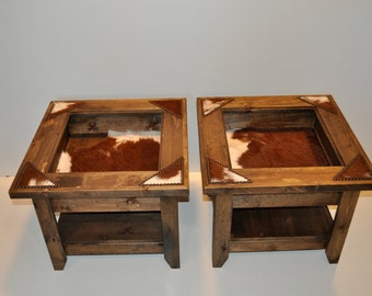 Display  End Tables (2) with cowhide & nailheads (Made To Order)