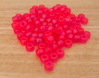 200 Frosted Pink Pony Beads