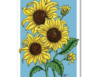 Sunflower card, Blank Greeting Card, Thinking of You, All Occasion Card, Mother's Day, Card for Woman, Sunflower Plant, Field of Sunflowers