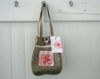 Fabric handbag . Small handbag. Travel bagl. Hand printed bag. Easy care. Handmade.
