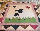 Christmas Lamb Wall Quilt, Stars, Primitive Appeal, Holliday Gift!