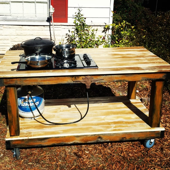 Items similar to outdoor propane cooktop bbq canning table for Wooden camp kitchen designs