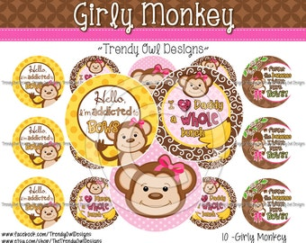 "Girly Monkey Bottle Cap Images - INSTANT DOWNLOAD - 1"" Bottle Cap Images 4x6 - 10"