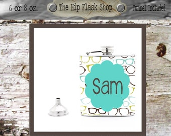 Name with green glasses background Liquor Flask Funnel Customize / Personalize, FREE!